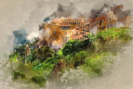monaco: Principality of Monaco. Digital watercolor painting.
