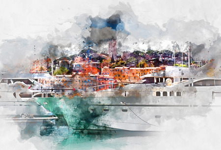 View of Le Suquet- the old town and Port Le Vieux of Cannes France. Digital watercolor painting
