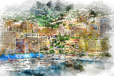 yacht: Principality of Monaco. Digital watercolor painting.