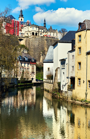Scenic view of the Luxembourg City and the Alzette river. Western Europe