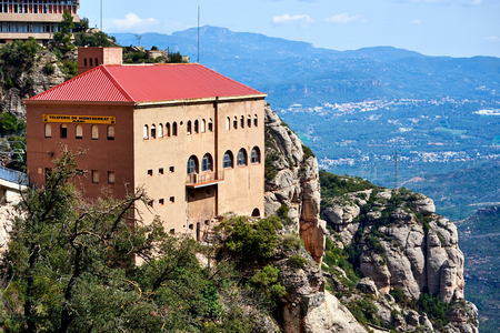Montserrat, Spain - April 6, 2016: The Aeri de Montserrat, is an aerial cable car which provides one of the means of access to the Montserrat mountain and abbey. Spain