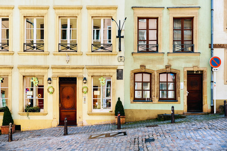 hillside: Hillside house in the old town of Luxembourg. Western Europe