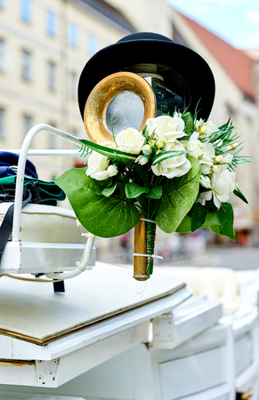 hackney carriage: Element of a horse-drawn wedding carriage (Fiacre) in the old city of Vienna, Austria Stock Photo