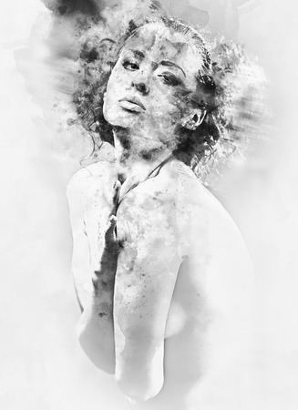 topless women: Black and white digital watercolor painting of a beautiful young woman.