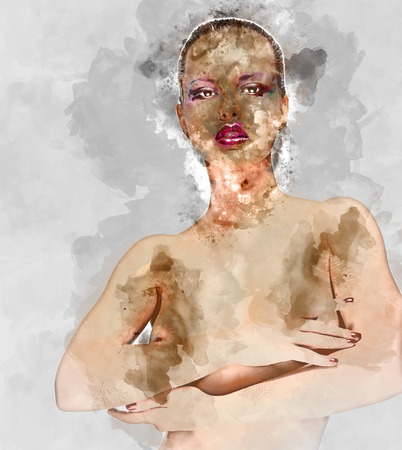 topless women: Digital watercolor painting of a naked woman