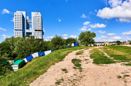 Kaliningrad, Russia - July 7, 2016: The unfinished building of The House of Soviets. The building is located in the central square of Kaliningrad city. Russia