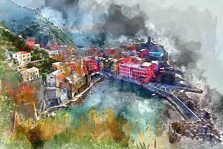 Digital watercolor painting of Vernazza. Small coastal village in the Italian region of Liguria, Cinque Terre. Province of La Spezia. UNESCO World Heritage List. Italy