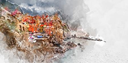 Manarola のデジタル水彩画Manarola はリグーリア州、チンクエ ・ テッレのイタリアの地域で小さな海岸沿い村です。ラ ・ スペツィア県。 イタリア 写真素材