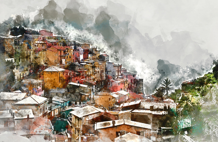 unesco: Digital watercolor painting of Manarola. Manarola is a small coastal village in the Italian region of Liguria, Cinque Terre. Province of La Spezia. Italy
