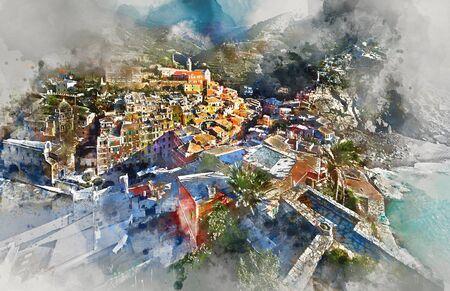 unesco: Digital watercolor painting Vernazza, small coastal village in the Italian region of Liguria, Cinque Terre. Province of La Spezia. UNESCO World Heritage List. Italy Stock Photo
