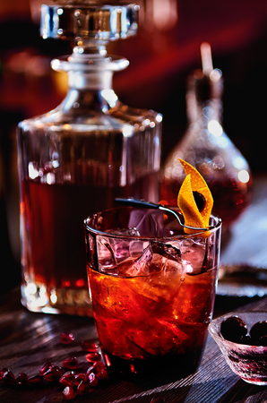 grenadine: Alcoholic cocktail with rum, pomegranate juice and grenadine syrup Stock Photo