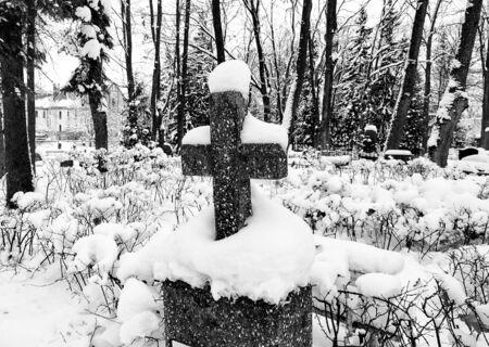snowbanks: Old cemetery in wintertime