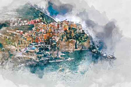 unesco: Digital watercolor painting of Manarola. Small coastal village in the Italian region of Liguria, Cinque Terre. Province of La Spezia. UNESCO World Heritage List. Italy