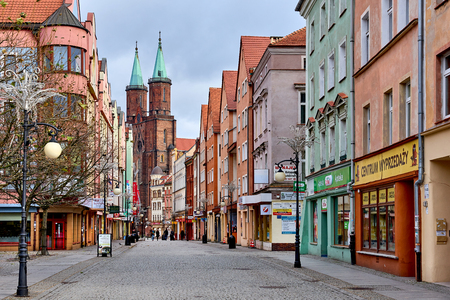 Legnica, Poland: November 27, 2016: Promenade of Legnica. It is one of the oldest cities in southwestern Poland, central part of Lower Silesia. Poland