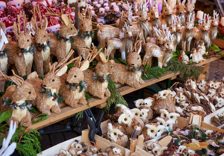 fairs: Christmas wooden animal toys. Nurembergs Christmas Market, one of Germanys oldest Christmas fairs. Bavaria, Germany
