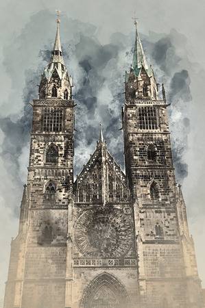 altered: Cathedral of St. Lorenz in Nuremberg, Germany. Digital watercolor painting.