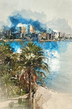 Digital watercolor painting of Albufereta skyline. Costa Blanca, Alicante. Spain