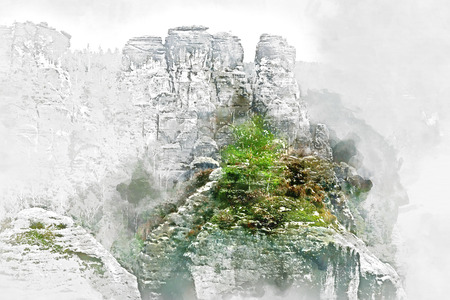 altered: Digital watercolor painting of Bastei. It is a rock formation towering 194 metres above the Elbe River in the Elbe Sandstone Mountains of Germany, major landmark of the Saxon Switzerland National Park. Germany