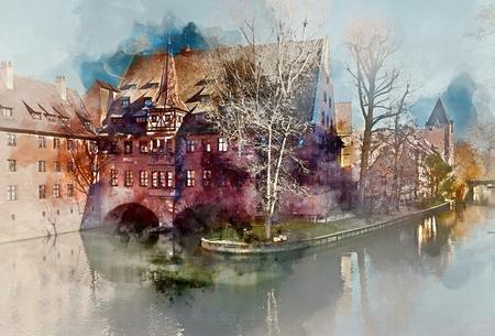 Digital-Aquarellmalerei einer alten Architektur und der Pegnitz in Nürnberg, Bayern. Deutschland