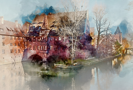Digital watercolor painting of an ancient architecture and The Pegnitz river in Nuremberg, Bavaria. Germany