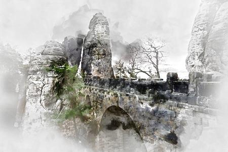 footbridge: Digital watercolor painting of an old Bastei Bridge. Major landmark of the Saxon Switzerland National Park. Germany
