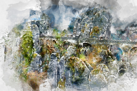 Digital watercolor painting of an old Bastei Bridge. Major landmark of the Saxon Switzerland National Park. Germany