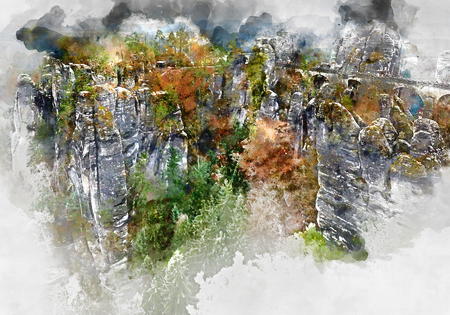 Digital watercolor painting of Bastei Bridge. Major landmark of the Saxon Switzerland National Park. Germany