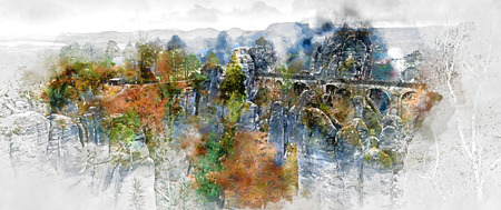 Panorama of Bastei Bridge. Major landmark of the Saxon Switzerland National Park in Germany. Digital watercolor painting Stock Photo