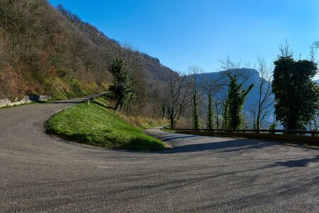 french way: Mountain road in Baume-les-Messieurs village. France