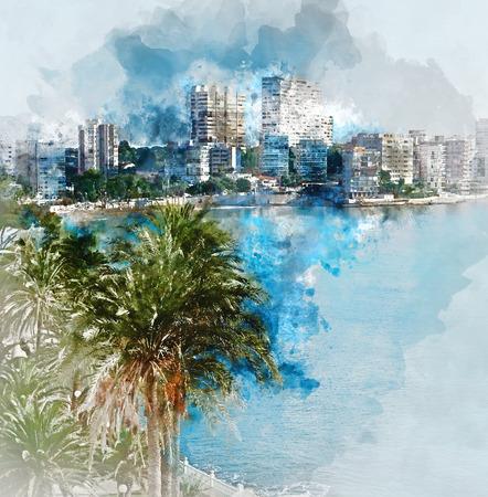 valencia: Digital watercolor painting of Albufereta skyline. Costa Blanca, Alicante. Spain