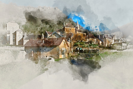 french countryside: Digital watercolor painting of Baume-les-Messieurs village, classified as one of the most beautiful villages of France