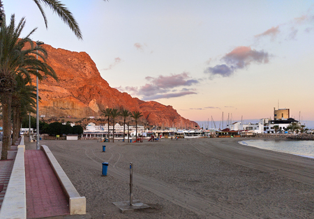 locality: Aguadulce beach at sunset. Aguadulce is a spanish locality of Roquetas de Mar, province of Almeria. Spain