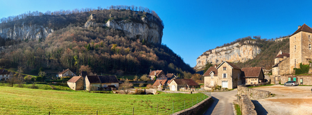 jura: Panorama of a Baume-les-Messieurs village.  Jura department of Franche-Comte. Baume-les-Messieurs is classified as one of the most beautiful villages of France Stock Photo
