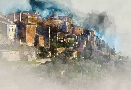 Digital watercolor painting of Gordes, is a very beautiful hilltop village in France.  Provence-Alpes-Cote dAzur region