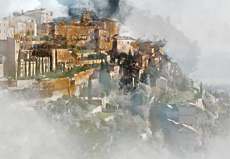 hilltop: Digital watercolor painting of Gordes, is a very beautiful hilltop village in France.  Provence-Alpes-Cote dAzur region
