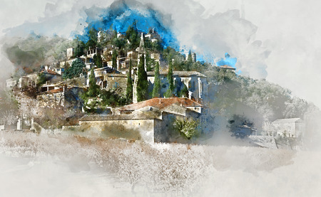 altered: Digital watercolor painting of La Roque-sur-Ceze village in France Stock Photo