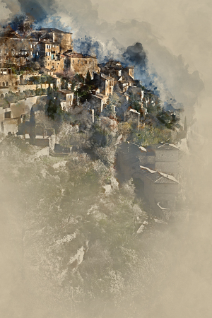 french countryside: Digital watercolor painting of Gordes, is a very beautiful hilltop village in France. Provence-Alpes-Cote dAzur region