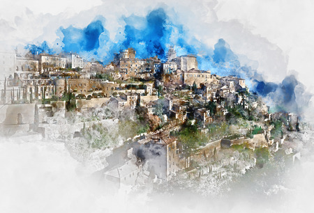 Digital watercolor painting of View the Gordes village. France