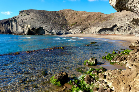 monsul: Volcanic rock-formations at Playa de Monsul. Famous beach in the Cabo de Gata-Nijar Natural Park. Province of Almeria. Spain