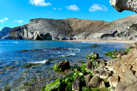 climas: Volcanic rock-formations at Playa de Monsul. Famous beach in the Cabo de Gata-Nijar Natural Park. Province of Almeria. Spain