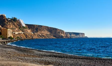 rocky coastline: Almeria skyline and rocky coastline. Southern Spain. Stock Photo