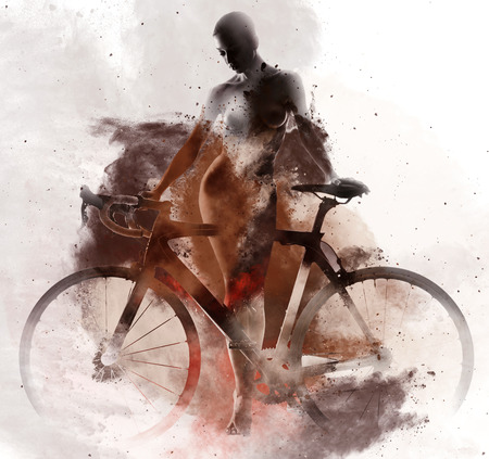 naked female body: Naked woman with a bicycle combined with an abstract watercolor. Digital art
