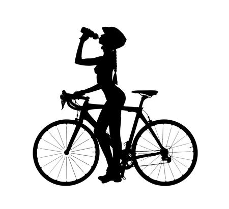 mujeres eroticas: Silueta de una mujer desnuda con una bicicleta, beber un agua. tiro del estudio, aislado en un fondo blanco Foto de archivo