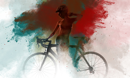 naked woman: Naked woman with a bicycle combined with an abstract watercolor. Digital art