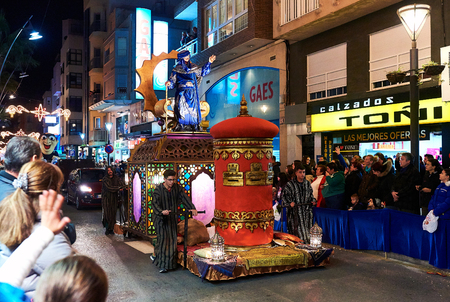melchior: Torrevieja, Spain - January 5, 2017: Cavalcade of the Magi parade or The night of the Three Wise Men in downtown of Torrevieja. The Cavalcade of Magi attracts thousands of visitors every year.