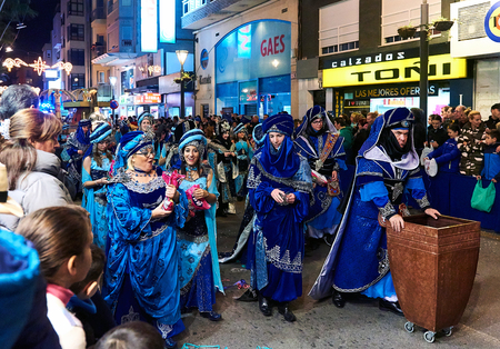gaspar: Torrevieja, Spain - January 5, 2017: Cavalcade of the Magi parade or The night of the Three Wise Men in downtown of Torrevieja. The Cavalcade of Magi attracts thousands of visitors every year.