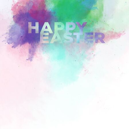 phrases: Happy Easter lettering on a watercolor background. Digital art
