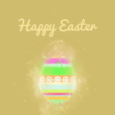 pascha: Happy Easter greeting card. Easter egg on a beige background. Digital art