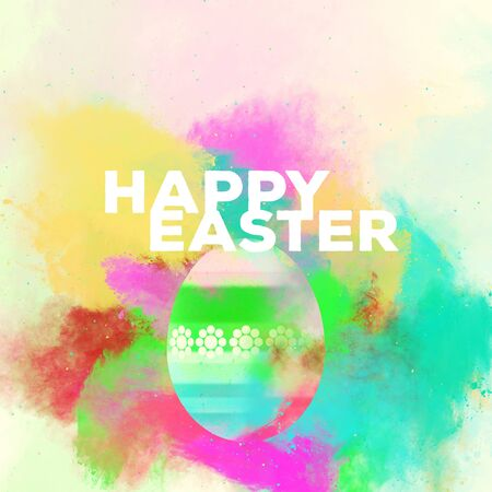 phrases: Happy Easter greeting card. Easter egg on a watercolor background. Bright colors. Digital art
