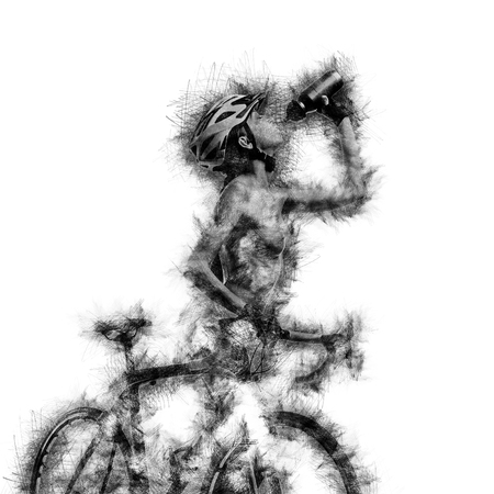 naked woman: Sketch of a naked woman with a bicycle drinking a water. Digital art Stock Photo